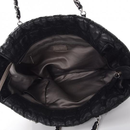 Chanel Gst Grand Shopping Classic Flap Tweed Double Stitch Tote in Black Image 3