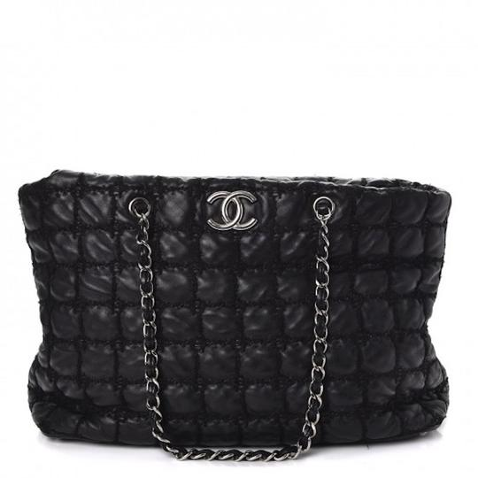 Chanel Gst Grand Shopping Classic Flap Tweed Double Stitch Tote in Black Image 4