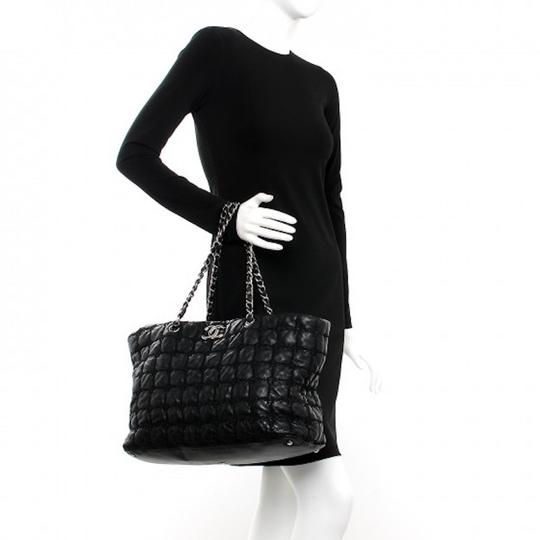 Chanel Gst Grand Shopping Classic Flap Tweed Double Stitch Tote in Black Image 5