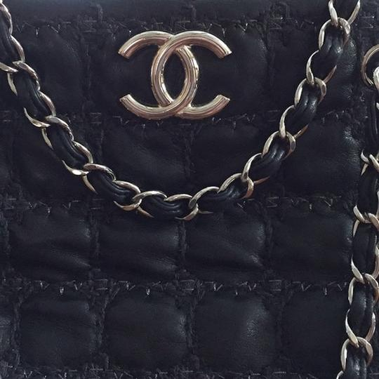 Chanel Gst Grand Shopping Classic Flap Tweed Double Stitch Tote in Black Image 6