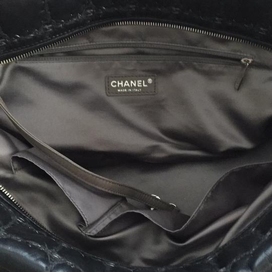 Chanel Gst Grand Shopping Classic Flap Tweed Double Stitch Tote in Black Image 7
