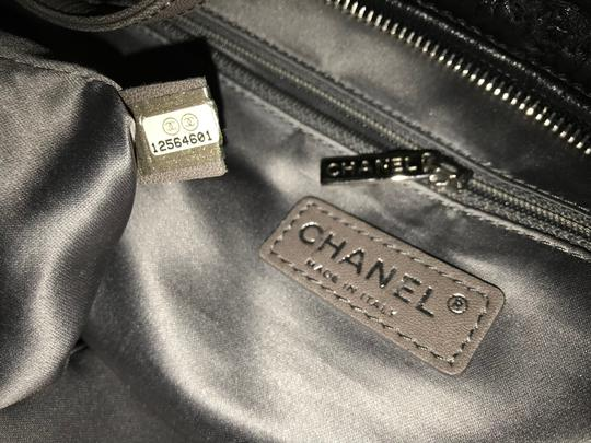 Chanel Gst Grand Shopping Classic Flap Tweed Double Stitch Tote in Black Image 9