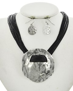 Color Story Burnished Silver Tone Black Cord Necklace & Earring Set