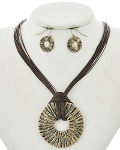 Color Story Burnished Gold Tone Brown Cord Necklace & Earring Set