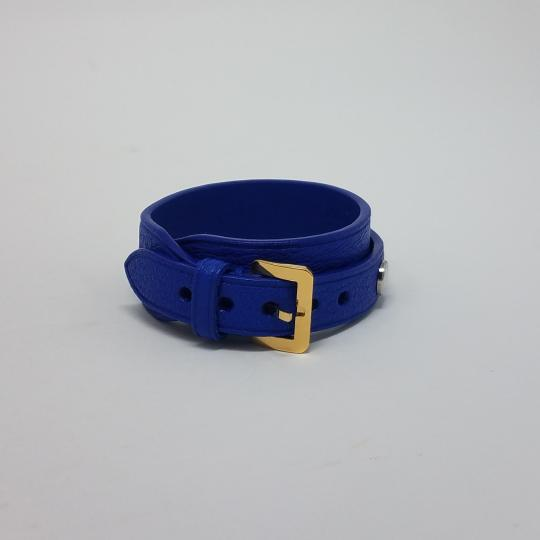 Louis Vuitton Blue Gold Silver Leather Wrap Spike It Size 17