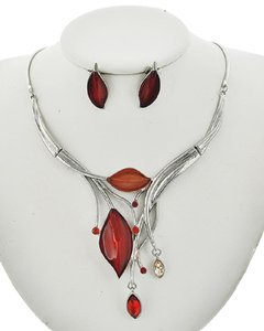 UNBRANDED Silver Tone Red Acrylic & Glass Necklace & Earring Set