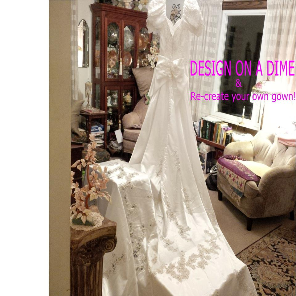 Mori Lee White Satin Design On A Dime Lots Beaded Lace Other Vintage Wedding
