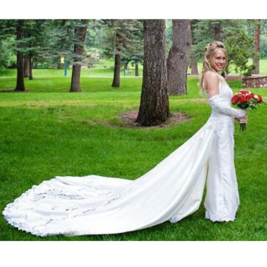 Mori Lee White Satin Design On A Dime ~ Lots Beaded Lace & Other Vintage Wedding Dress Size 6 (S) Image 8