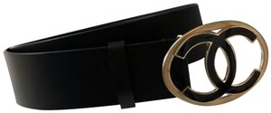 Chanel NEW!!! CC Two Tone Black Leather Logo Belt - 75/30