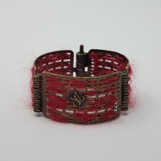 Louis Vuitton Louis Vuitton Antique Goldtone Tribal Hinge Cuff Bracelet Image 1