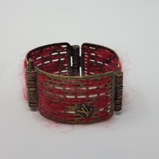 Louis Vuitton Louis Vuitton Antique Goldtone Tribal Hinge Cuff Bracelet Image 5