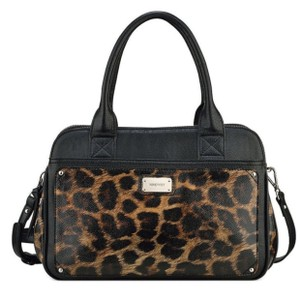Nine West Satchel in Black & Brown Animal Print
