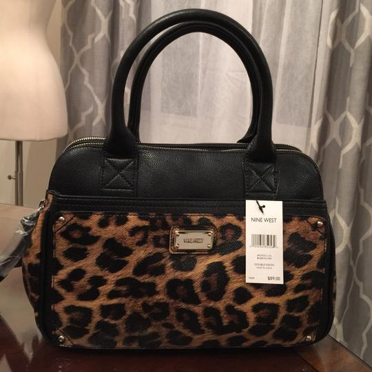 Nine West Satchel in Black & Brown Animal Print Image 2