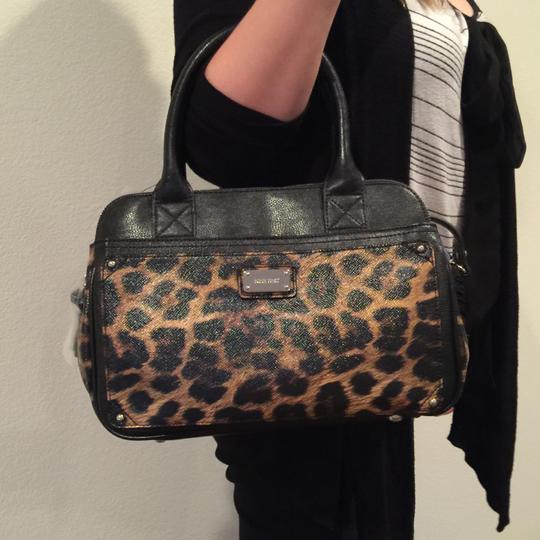 Nine West Satchel in Black & Brown Animal Print Image 3