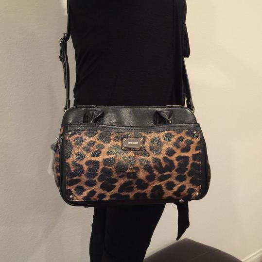 Nine West Satchel in Black & Brown Animal Print Image 4