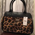 Nine West Satchel in Black & Brown Animal Print Image 5