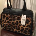 Nine West Satchel in Black & Brown Animal Print Image 6