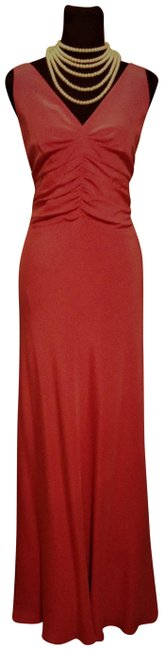 Item - Pink Coral Pure Silk Collection V Cut Front and Back with Trail Long Formal Dress Size 16 (XL, Plus 0x)