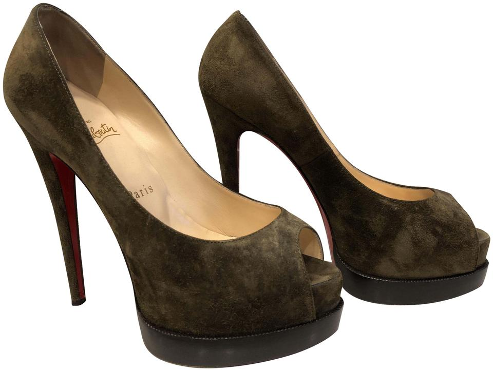 070228a0672 Christian Louboutin Olive Green Suede Palais Royal Trepointe Pumps Size EU  37.5 (Approx. US 7.5) Regular (M, B) 64% off retail