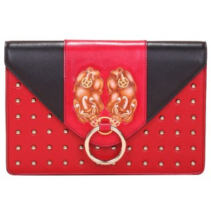 Bellorita Hand Tooled Hand Painted Leather Crossbody Red Clutch