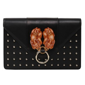 Bellorita Hand Tooled Hand Painted Leather Crossbody Black Clutch