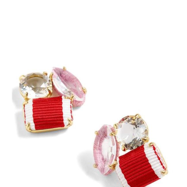Item - Red Ribbon and Stone Cluster Earrings