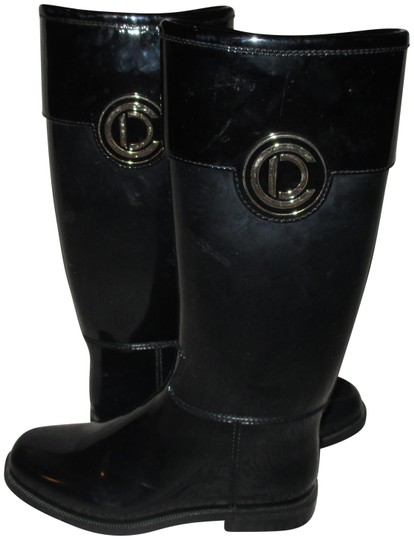 Dior Black Christian Patent Rubber Rain Boots Booties Size