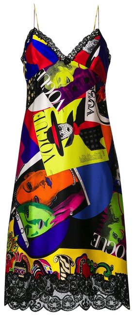 Versace Multicolor Lace-trimmed Graphic Silk Slipdress -spring 2018 Collection Long Cocktail Dress Size 6 (S) Versace Multicolor Lace-trimmed Graphic Silk Slipdress -spring 2018 Collection Long Cocktail Dress Size 6 (S) Image 1