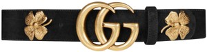 """Gucci Clover 100/40 1.5"""" Double GG Gold Buckle Suede Leather Black Sold Out Limited"""