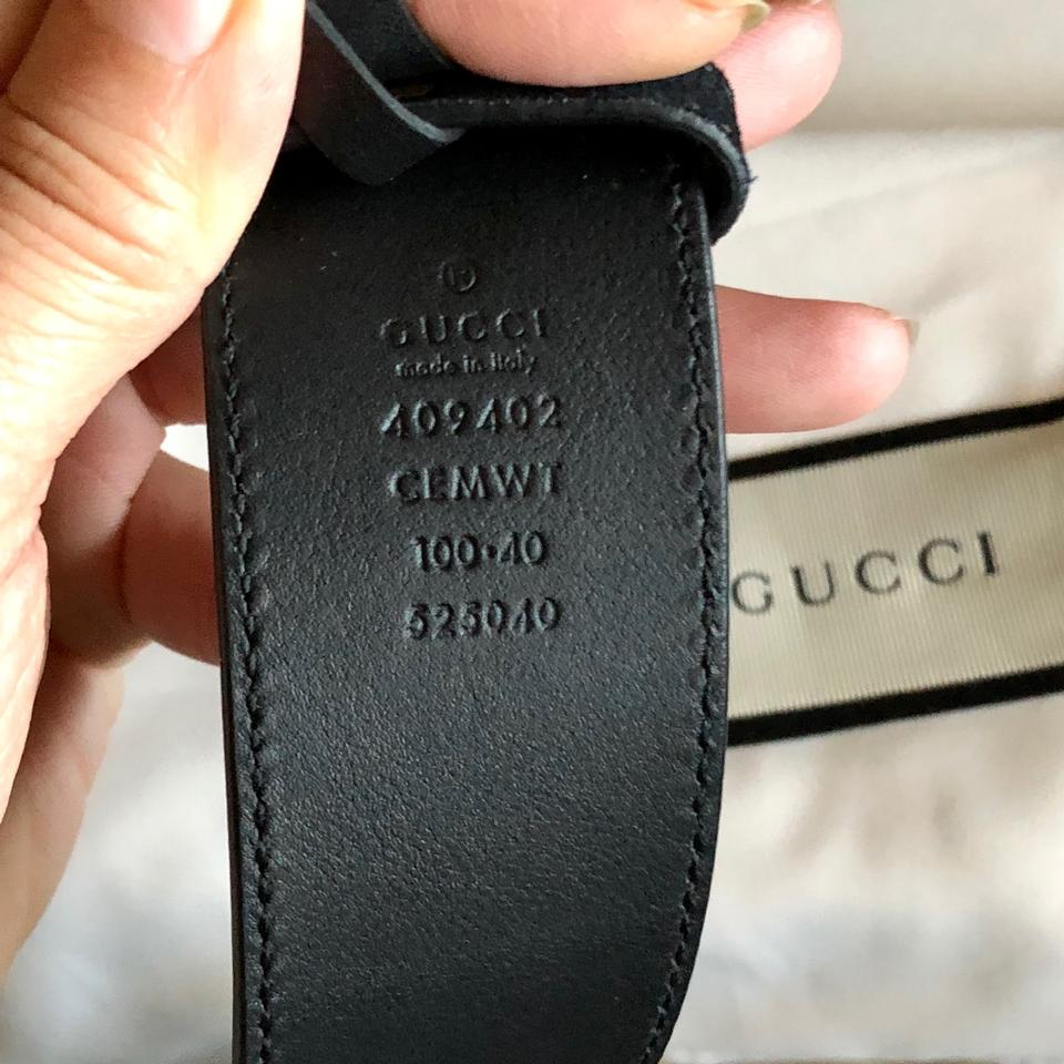"""a15436f5ca6 Gucci Black Clover 100 40 1.5"""" Double Gg Gold Buckle Suede Leather ..."""