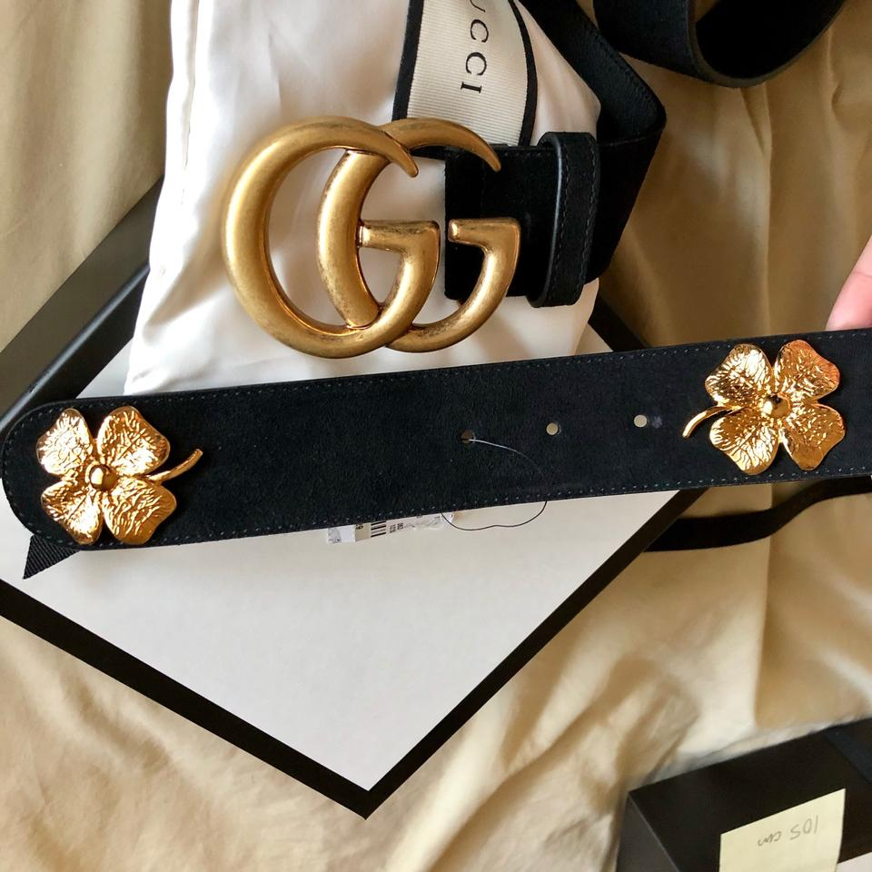 """d2005e1cee5 Gucci Black Clover 100 40 1.5"""" Double Gg Gold Buckle Suede Leather Sold Out  Limited Belt - Tradesy"""