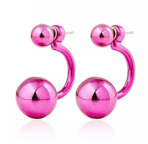 Xquisite by Design DOUBLE BALL FUCHSIA STUD EARRINGS