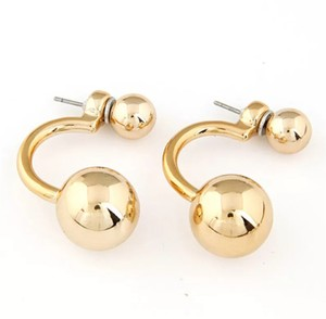 Xquisite by Design DOUBLE BALL GOLD STUD EARRINGS