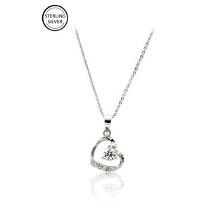Ocean Fashion Single drill love heart sterling silver necklace