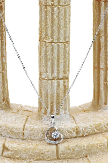 Ocean Fashion Single drill love heart sterling silver necklace Image 3