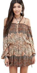 Free People Longsleeve Open Shoulder Floral Print Dress