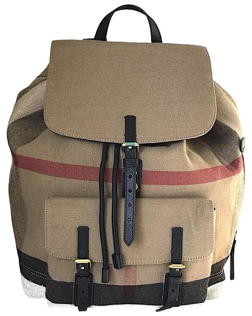 Item - New Check Brookdale Black Brown Tan Camel Coated Canvas Backpack