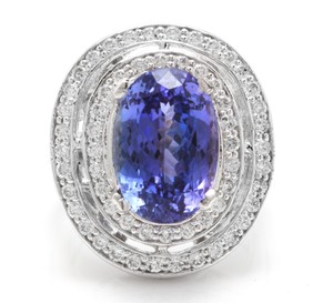 Other 9.70 Carats NATURAL TANZANITE and DIAMOND 14K Solid White Gold Ring