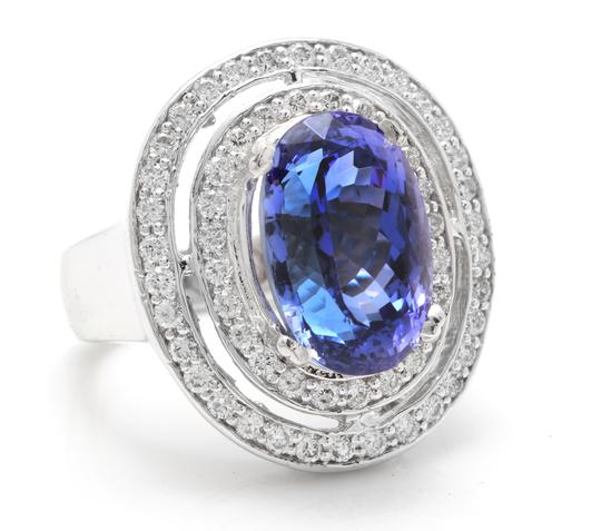Other 9.70 Carats NATURAL TANZANITE and DIAMOND 14K Solid White Gold Ring Image 1
