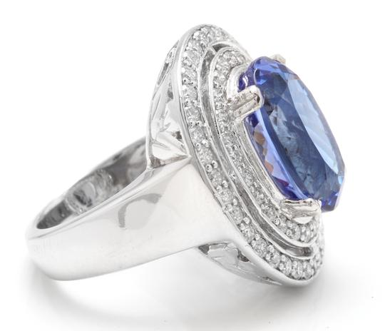 Other 9.70 Carats NATURAL TANZANITE and DIAMOND 14K Solid White Gold Ring Image 2
