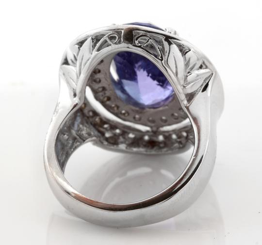 Other 9.70 Carats NATURAL TANZANITE and DIAMOND 14K Solid White Gold Ring Image 3