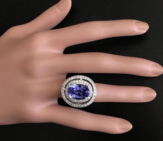Other 9.70 Carats NATURAL TANZANITE and DIAMOND 14K Solid White Gold Ring Image 4