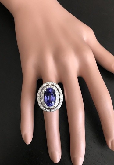 Other 9.70 Carats NATURAL TANZANITE and DIAMOND 14K Solid White Gold Ring Image 5