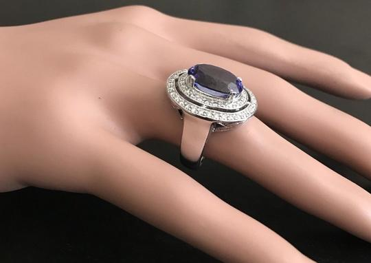 Other 9.70 Carats NATURAL TANZANITE and DIAMOND 14K Solid White Gold Ring Image 6