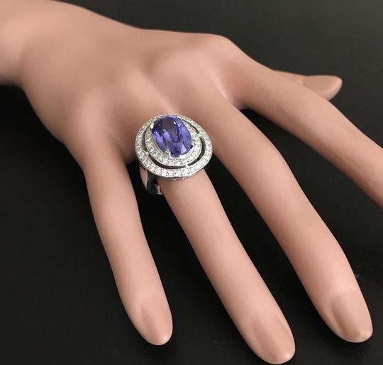 Other 9.70 Carats NATURAL TANZANITE and DIAMOND 14K Solid White Gold Ring Image 7