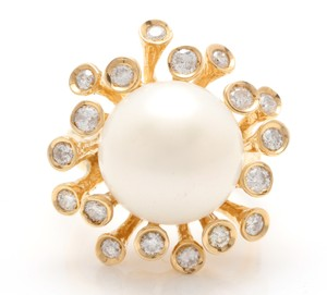 Other Splendid Natural 15mm South Sea Pearl & Diamond 14K Solid Yellow Gold