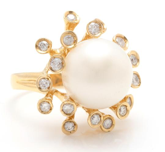 Other Splendid Natural 15mm South Sea Pearl & Diamond 14K Solid Yellow Gold Image 1