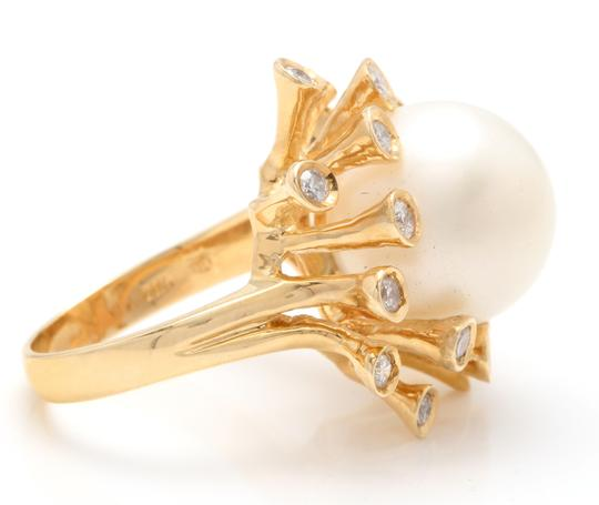 Other Splendid Natural 15mm South Sea Pearl & Diamond 14K Solid Yellow Gold Image 2