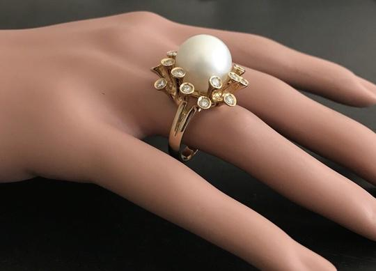 Other Splendid Natural 15mm South Sea Pearl & Diamond 14K Solid Yellow Gold Image 4