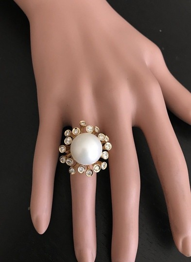 Other Splendid Natural 15mm South Sea Pearl & Diamond 14K Solid Yellow Gold Image 5